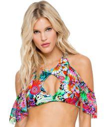 Cropped bathing suit top with flounces and cut-out bottom, laced back - SOUTIEN VIVA CUBA BONITA