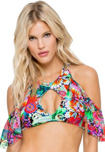 Cropped bathing suit top with flounces and cut-out bottom, laced back - SOUTIEN VIVA CUBA BONITA