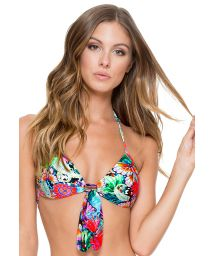 Butterfly print push-up top with bow - SOUTIEN VIVA CUBA CASINO
