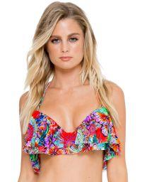 Bra bathing suit top with flounces and butterfly print - SOUTIEN VIVA CUBA RUFFLE