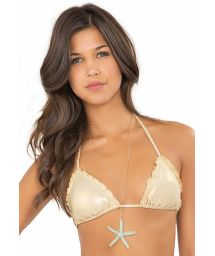 Sliding gold-coloured triangle top with wavy edges - SOUTIEN WAVEY STRAPPY GOLD