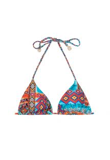 Haut de bikini triangle imprimé ethnique coloré - SOUTIEN WILD FREE