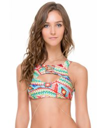 Reversible swimsuit crop top, cut-out, lacing - SOUTIEN WILD HEART STRAPPY