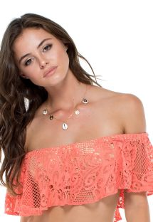 Coral/gold coloured dual fabric flounced bandeau top - TOP GUAGUANCO RUFFLE