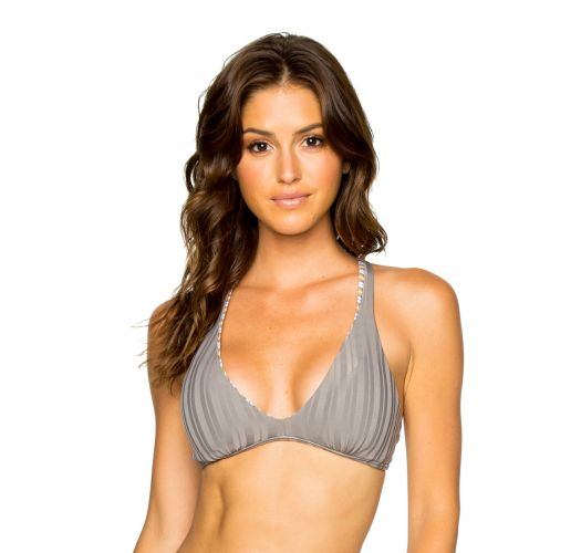 Reversible grey / stripped bra bikini top - TOP HALTER TORRE DE ORO