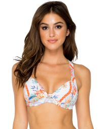White push-up bikini top with colorful print - TOP MERENGUITO