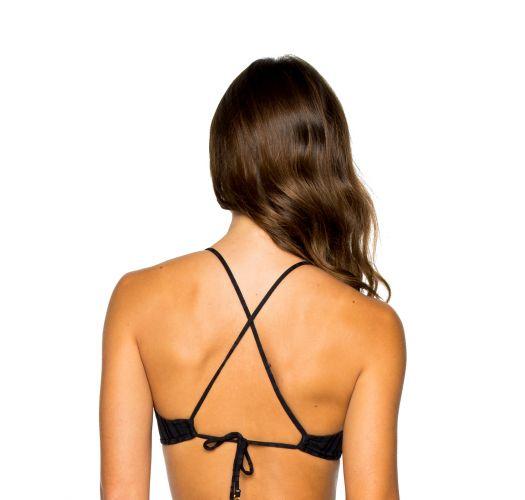 Back crossed black bra bikini top with front ring detail - TOP RING BLACK TIRI TURAI