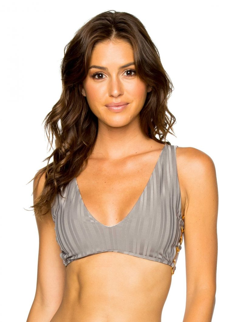 Grey bra bikini top with ring details - TOP RUCHED GREY TURI TURAI