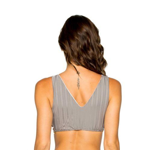 Grey bra bikini top with ring details - TOP RUCHED GREY TURI TURAI