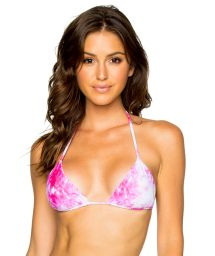 Pink reversible triangle top leaves / tie-dye - TOP SEAMLESS BAMBOLEO