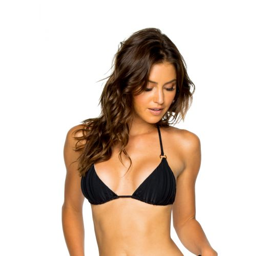 Triangle black bikini top with rings - TOP SEAMLESS BLACK TIRI TURAI