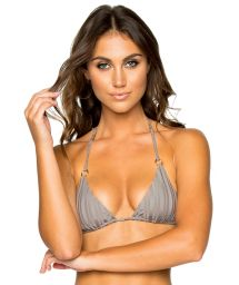 Triangle grey bikini top with rings - TOP SEAMLESS GREY TURI TURAI