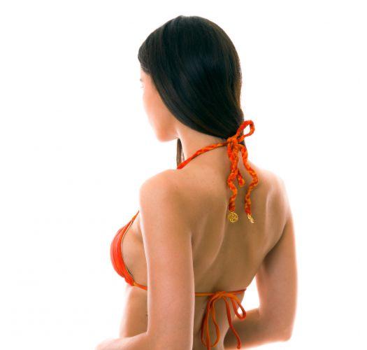 Orange, vändbar batikmönstrad trekantsöverdel med guldfärg på andra sidan - TOP SOL Y ARENA REVERSIBLE ZIG ZAG
