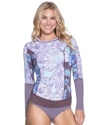 Mauve mixed-print rashguard with topstitching - DEEP BLUE RIVER
