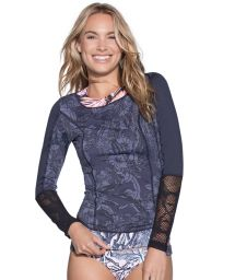 Dual-fabric rashguard top with mixed prints - MOONLESS FESTIVAL