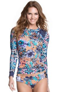 Long-sleeved rashguard top floral print - POOLSIDE FLORAL
