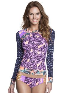 Rashguard top in mixed mauve/blue prints - RUM PUNCH