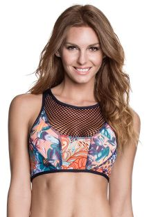 Dual fabric, fishnet, crop top with zip-up back - SOUTIEN BOOGIE NIGHTS
