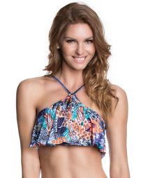 Swimsuit crop top with printed frill - SOUTIEN CHA CHATS
