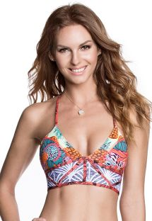 Sports bra style bikini top, mixed prints, T back - SOUTIEN DANCE FEVER