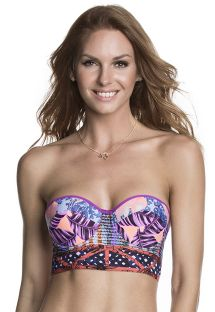 Mixed print bustier top with lace up back - SOUTIEN DANCING QUEEN
