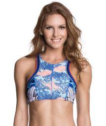 Swimsuit crop top, lace-up back, blue prints - SOUTIEN FUNKY JELLIES
