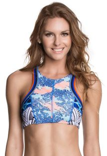 Swimsuit crop top, lace-up back, blue prints - SOUTIEN FUNKY JELLIES