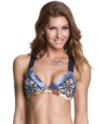 Triangle top with mixed prints, macramé back - SOUTIEN GLAM O RAMA