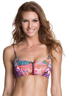 Zipped sports bra bikini top, mixed prints - SOUTIEN HOTEL CALIFORNIA