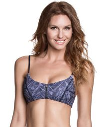 Zip-up sports bra style top, reversible print - SOUTIEN JACQUARD FUNKY