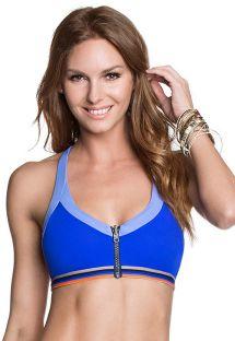 Reversible printed/blue sports bra style bikini top - SOUTIEN POOLSIDE SUBLIM