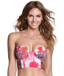 Printed bustier-style bikini top with laced back - SOUTIEN REAL COOL CAT