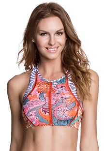 Lace up back crop top detailed with orange stitching - SOUTIEN ROLLER DERBY