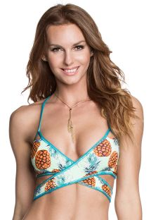Reversible pineapple/plain blue reversible cross-over top - SOUTIEN SAGE SUBLIM