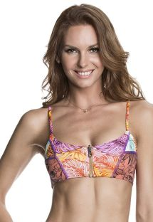 Zipper front bra style swimsuit top in a multicoloured print - SOUTIEN SUPER FLY PALMS