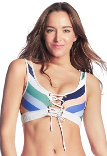 Front - back reversible crop top - TOP CIELO BRANCO
