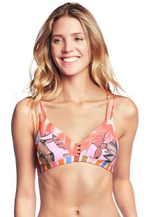 Orange & pink printed bikini bra top - TOP CUMBUCO PRAIA