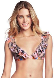 Colorful floral ruffled bra top - TOP LARANJA FRILLS