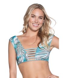 2-shape reversible bathing top in green palm tree print - TOP LILY PAD DIVINE