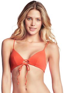 Reversible orange / colorful stripes bikini top - TOP MANDARIN SPELL