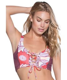 Lace-up cropped-bra bikini top in mixed floral prints - TOP SCARLET CACIQUE