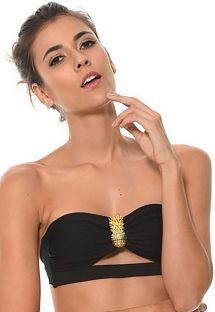 Parte superior de bikini bandeau negro con accesorio piña dorado - SOUTIEN AURUM ONYX