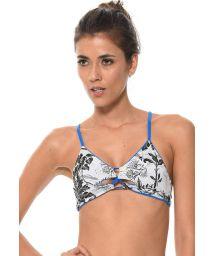 Reversible tropical-print / plain blue bikini top - SOUTIEN COSTA TROPICAL
