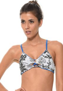 Reversible tropical-print / plain blue bikini top - SOUTIEN COSTA TROPICAL