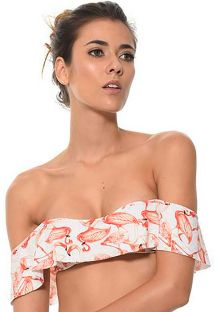Off-shoulder bandeautopje met flamingoprint - SOUTIEN DANCING FLAMINGO