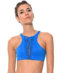 Blue crop-top bikini with macrame insert - SOUTIEN HAPPY HATCH AZUL