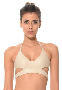 Shiny gold cut-out bikini top - SOUTIEN SOLSTICE DORADO