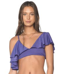Ruffled purple crop top with multi-position straps - TOP ALAND SODALITE BLUE