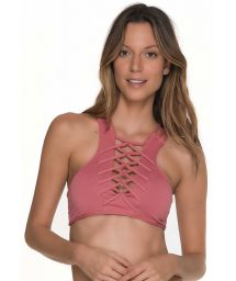 Pink crop top swimsuit with criss cross neckline detail - TOP AWE ROSE