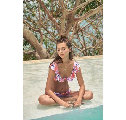 Orange floral ruffled bikini top with decorative straps - TOP BALEARIC BLOSSOM LILAS